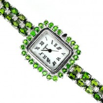 genuine jewels rich green chrome-diopside 14k white gold 925 silver ladies' wrist watch