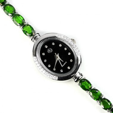 delightful natural russian chrome-diopside & CZ sterling silver jewellery ladies wrist watch