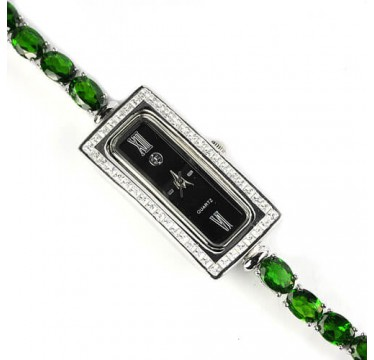 admirable natural green chrome diopside sterling silver jewelry wrist watch for woman