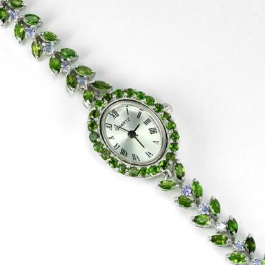 graceful AAA green chrome diopside & tanzanite in sterling silver womens watch
