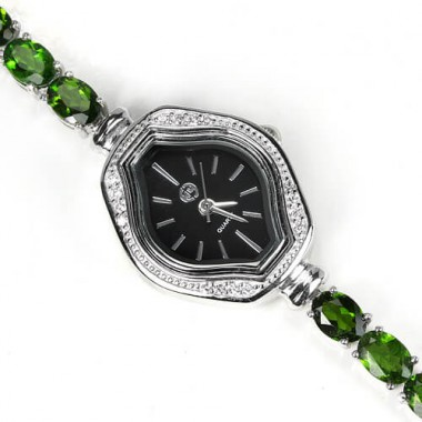 Fashion Women's Bracelet Watch Made of Sterling Silver with Chrome Diopside
