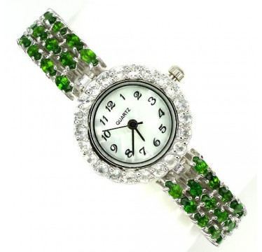 rare natural russian chrome-diopside & white topaz gems sterling silver ladies luxury watch
