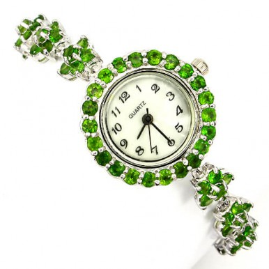 splendid sterling silver gems wrist watch for woman with natural chrome diopside