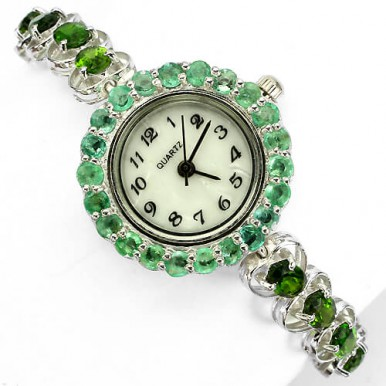 deluxe jewelry sterling silver ladies watch with genuine gems chrome-diopside & emerald