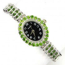 stylish jewelry sterling silver ladies wrist watch with natural russian chrome diopside