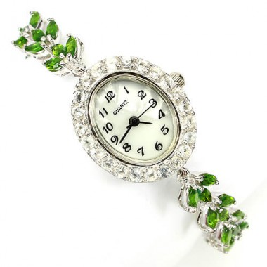 Shining Natural Green Chrome Diopside & White Topaz Silver Bracelet Watch