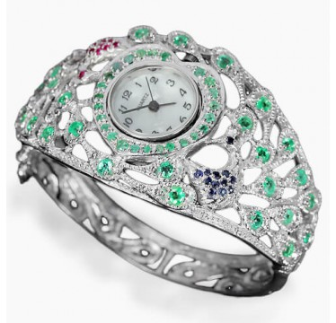 genuine columbian emerald, sapphire & ruby jewels 925 silver bangle peacock watch