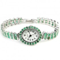 Alluring Sterling Silver Wrist Watch for Women with Natural Green Emerald