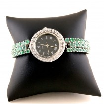 Sparkling Sterling Silver Women's Watch with Emerald & White Topaz