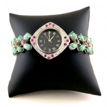 Fantastic Sterling Silver Ladies' Watch with Emerald & Tourmaline