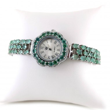 Adjustable Bracelet Length Genuine Emerald Women's Watch