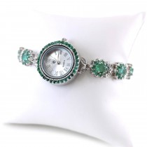 Adjustable Bracelet Size Natural Emerald 925 Silver Watch for Women