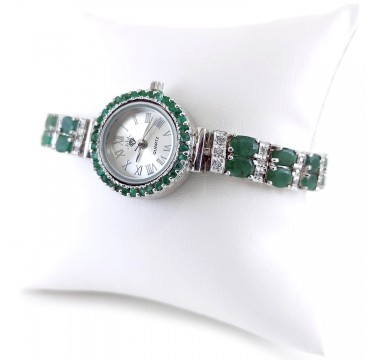 Universal Bracelet Size Jewelry Watch for Ladies with Natural Emerald