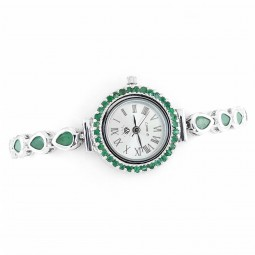 Cute Natural Green Emerald Pear Cut 925 Silver Watch for Women