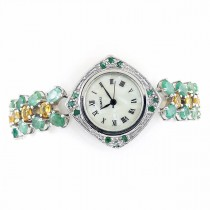 Transparent Green Emerald & Citrine 925 Sterling Silver Ladies' Watch