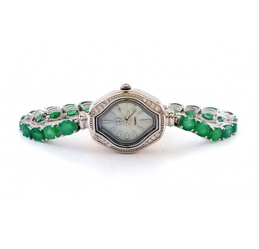 Elegant Sterling Silver Laies' Wrist Watch with Natural Columbian Emerald