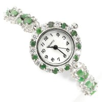attractive natural emerald & mother of pearl 925 sterling silver luxury womens watch