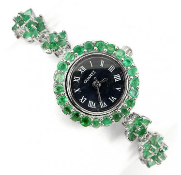 transparent authentic green emerald flower design 925 sterling silver ladies' watch
