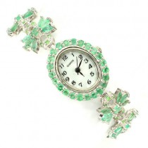 genuine green emerald & tsavorite garnet nice bow design sterling silver ladies watch