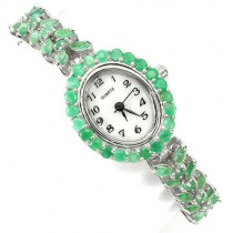 luxury authentic rich green brazilian emerald sterling silver wrist watch for ladies