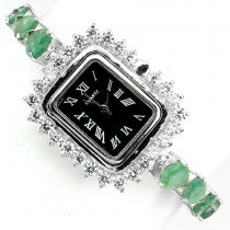 natural gems green brazilian emerald & CZ 925 sterling silver ladies wrist watch