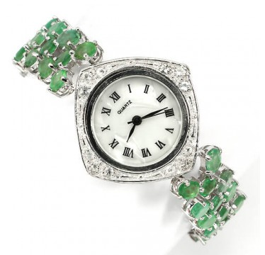 really authentic emerald & white topaz silver and 14k white gold luxury womens watch