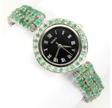rare green brazilian emerald sterling silver & 14k white gold luxury womens wrist watch