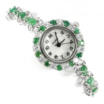 natural gemstones rich green emerld & CZ 925 sterling silver ladies' wrist watch