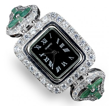 natural green emerald & CZs jewels 925 sterling silver womens watch