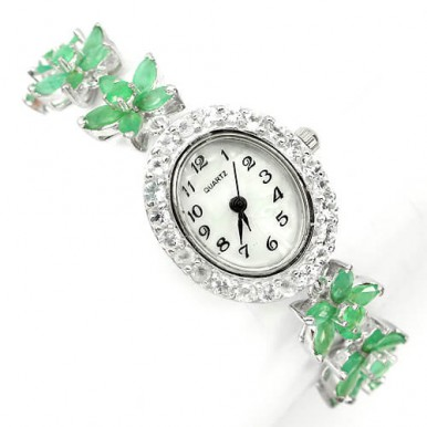 natural top rich green brazilian emerald & white topaz flower silver watch