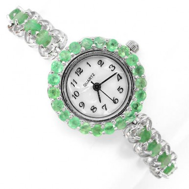 gorgeous authentic green emerald 925 silver 14k white gold jewellery ladies' wrist watch