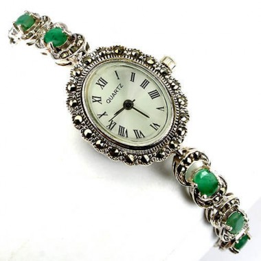 genuine zambian emerald & marcasite vintage style 925 silver womens watch