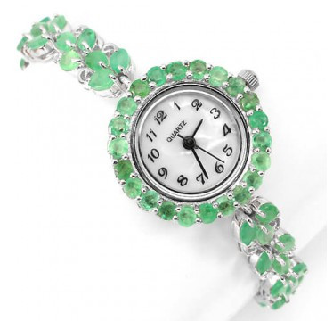 magnificent real green brazilian emerald 925 sterling silver 14k white gold jewelry watch for ladies