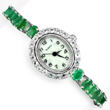rare green brazilian emerald & white topaz 925 sterling silver womens wrist watch