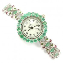 precious jewelry womens watch sterling silver with emerald, ruby & chrome diopside