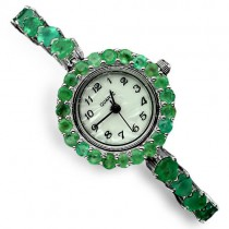 luxury authentic transparent green brazil emerald gems 925 sterling silver watch for lady
