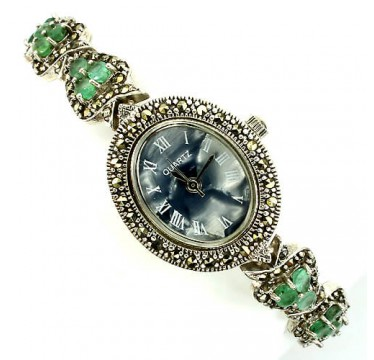 Vintage Style Sterling Silver Women's Wrist Watch with Emerald & Marcasite
