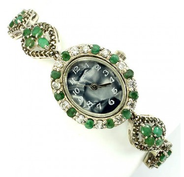 Vintage Style Solid Sterling Silver Ladies' Watch with Genuine Emerald & Marcasite