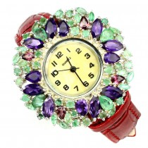 Leather Band Sterling Silver Watch with Emerald, Amethyst & Rhodolite