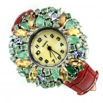 Graceful Jewelry Wristwatch with Leather Strap & Natural Gemstones