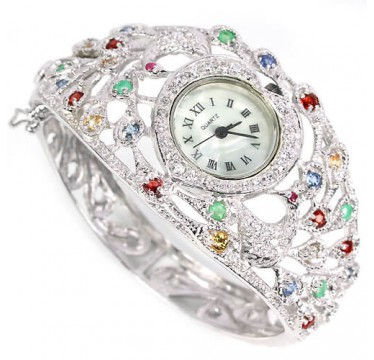 natural fancy colors gems emerald, sapphire, ruby & CZ exclusive design peacock watch