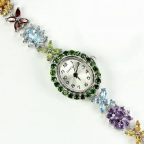 natural multi gems chrome-diopside,topaz, rhodolite, citrine, iolite etc. 925 silver watch