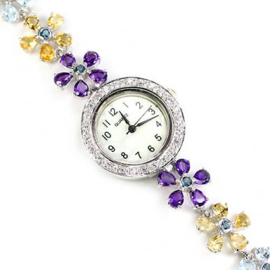 natural fancy colors gems - amethyst, topaz, citrine, peridot & CZ 925 silver ladies' flower watch