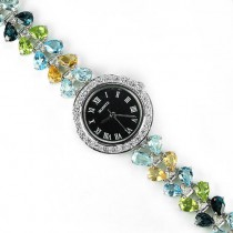 fancy colors AAA gems - topaz, citrine, peridot & CZ 925 sterling silver wrist watch for woman