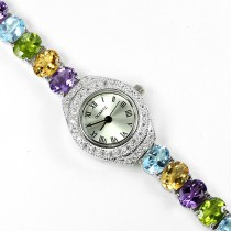 fancy colors natural gems amethyst, topaz, citrine & peridot luxury silver womens watch
