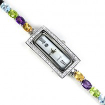 AAA clarity natural gems amethyst, citrine, garnet, peridot, topaz & CZ silver jewellery ladies watch