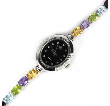 real amethyst, citrine, garnet, peridot & topaz silver 14k gold jewelry ladies watch
