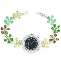 Flower Design Sterling Silver Watch for Women With Natural Green Gems