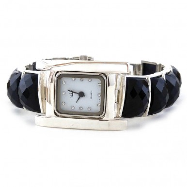 Heavy Sterling Silver Wrist Watch for Women with Natural Black Onyx