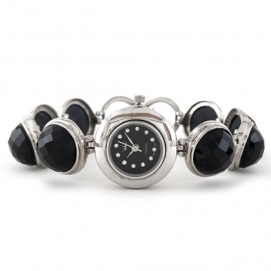 Round Natural Black Onyx Women's Sterling Silver Wrist Watch